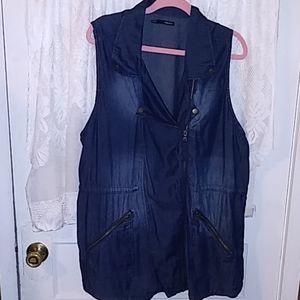 XXL.denim zippered vest *0075*